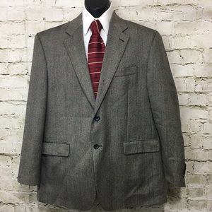 IZOD 100% Lambswool Gray Tweed Blazer Size 44R